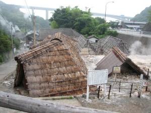 Cabanes per fer sals de bany a l'estil del període Edo. Beppu.